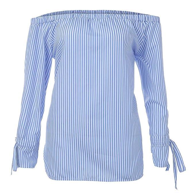 Blusa de manga larga de moda blusa de la mujer Camisas Sexy Off Tops de hombro