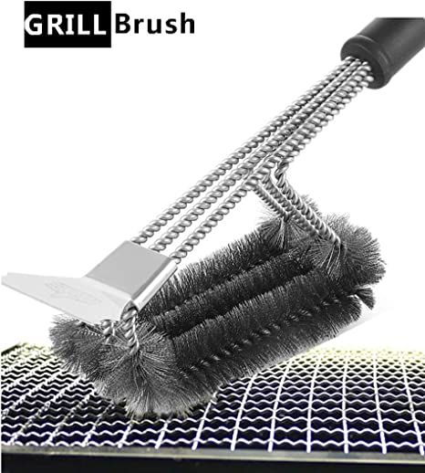 Amazon.com : 0 degree Grill Brush with Scraper BBQ Cleaner Accessories  Stainless Steel Grill Cleaner Cleaning Kit with Stiff Wire Bristle Triple  Head Scrubber for Weber Gas Charcoal Grill : Garden & Outdoor
