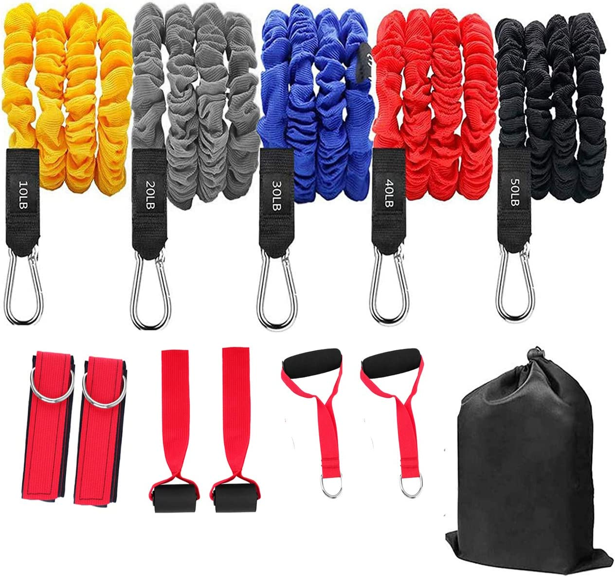 12PCS Resistance Bands Set,Exercise Bands with Door Anchor,Resistance Training,Physical,Home Workout,Yoga Stackable Up to 150Lbs