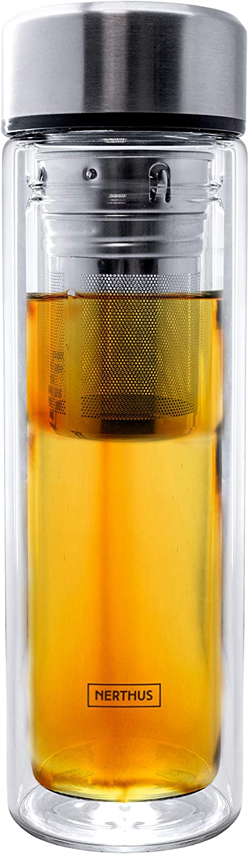 Nerthus 664 FIH Filtro 350 ml, Aislante Gracias a su Doble Pared, Botella infusor, Termo, Taza de Viaje, Tetera de Cristal