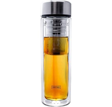 Navaris Botella de Agua de Cristal 500ML - Termo para té de Vidrio ...