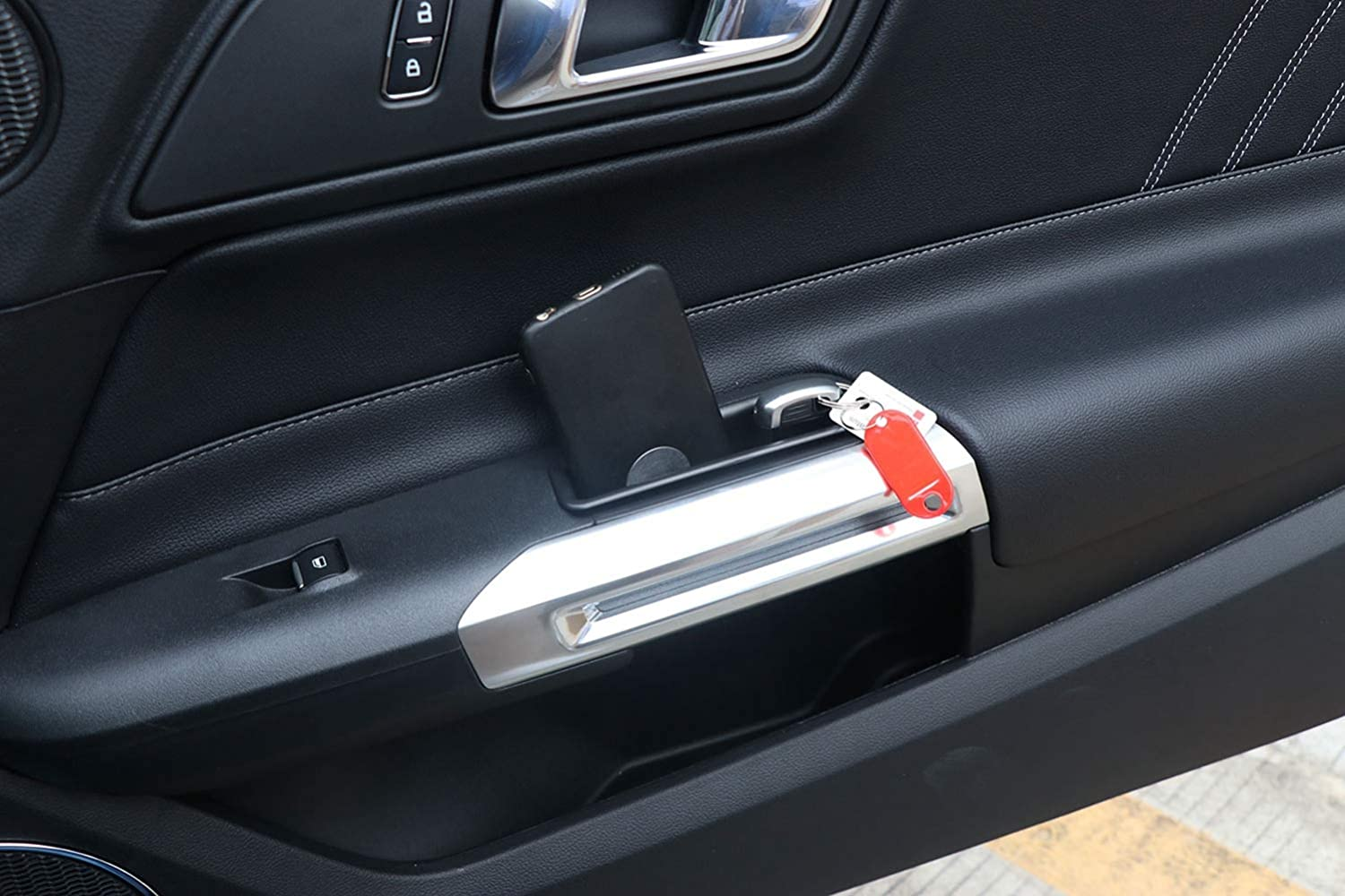 Front Row Door Side Storage Box Handle Armrest Phone Container for Ford Mustang 2015 2016 2017 2018 Black