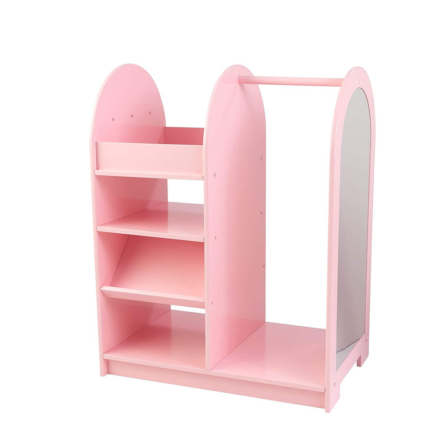 KidKraft Wooden Fashion Pretend Dress-Up Station Children's Furniture with Storage and Mirror - Pink