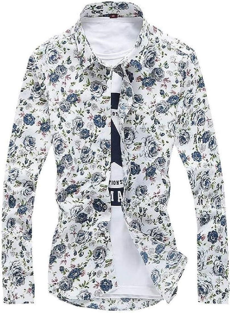 pipigo Mens Button Up Printed Lapel Slim Work Long Sleeve Shirts