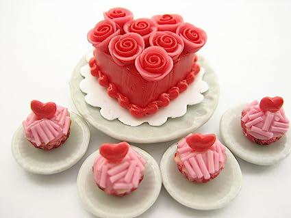 20 Loose Chocolate Mini Cake Rose Top Dollhouse Miniatures Food Bakery