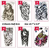 6 Sheets Temporary Tattoos for Body Makeup,Party