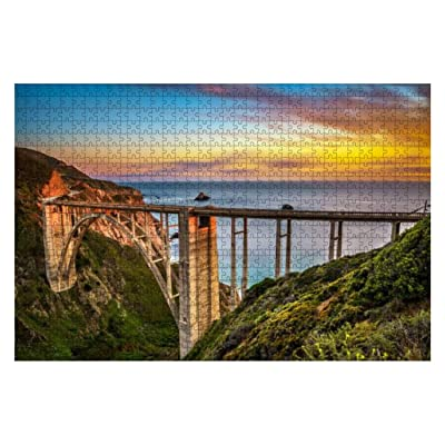 1000 Piece Bixby Bridge and Pacific Coast Highway at Sunset Colorful seas and Large Piece Jigsaw Puzzles for Adults Educational Toy for Kids Creative Games Entertainment Wooden Puzzles Home Decor: Toys & Games