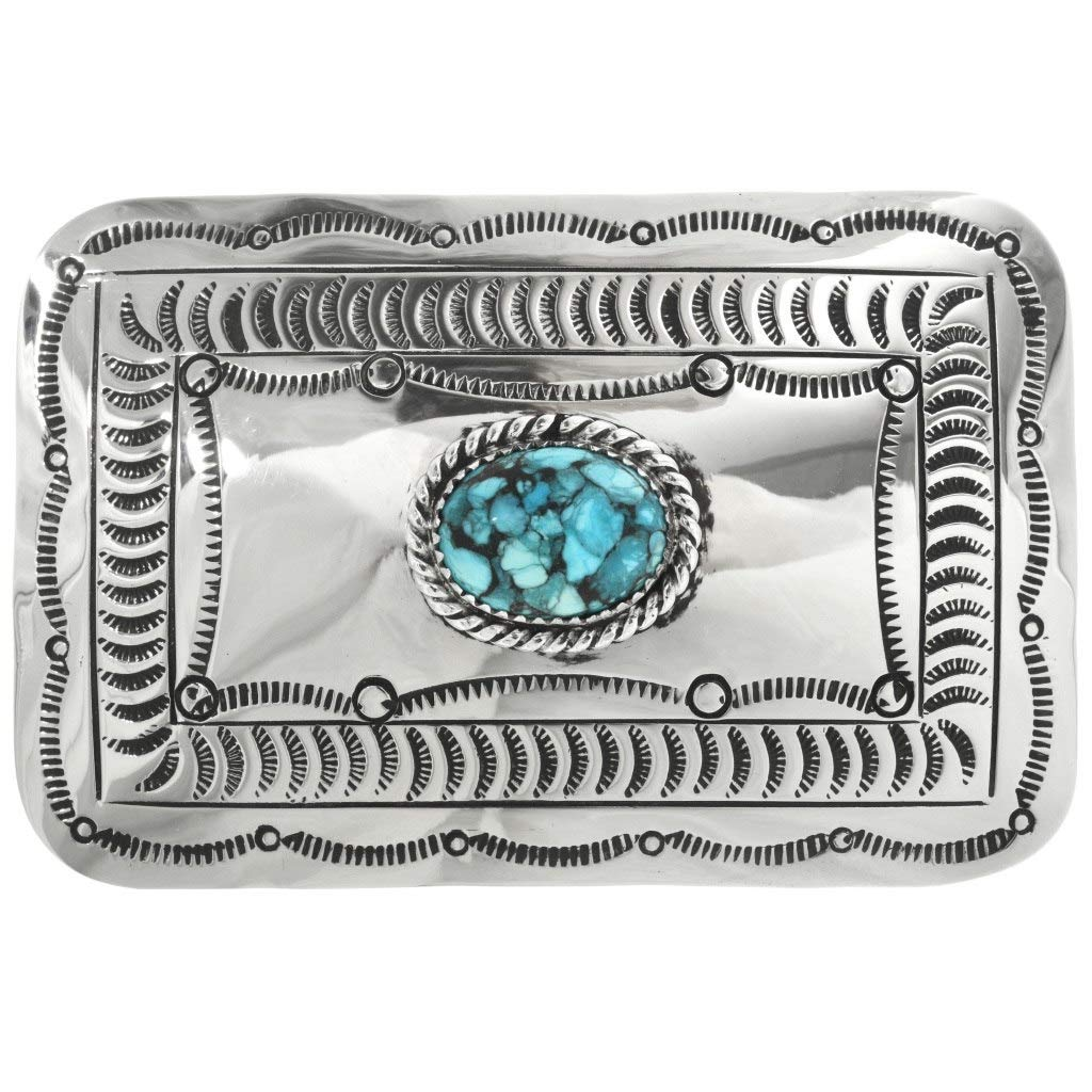 Hammered Silver Belt Buckle Navajo Twist Wire Turquoise 0108