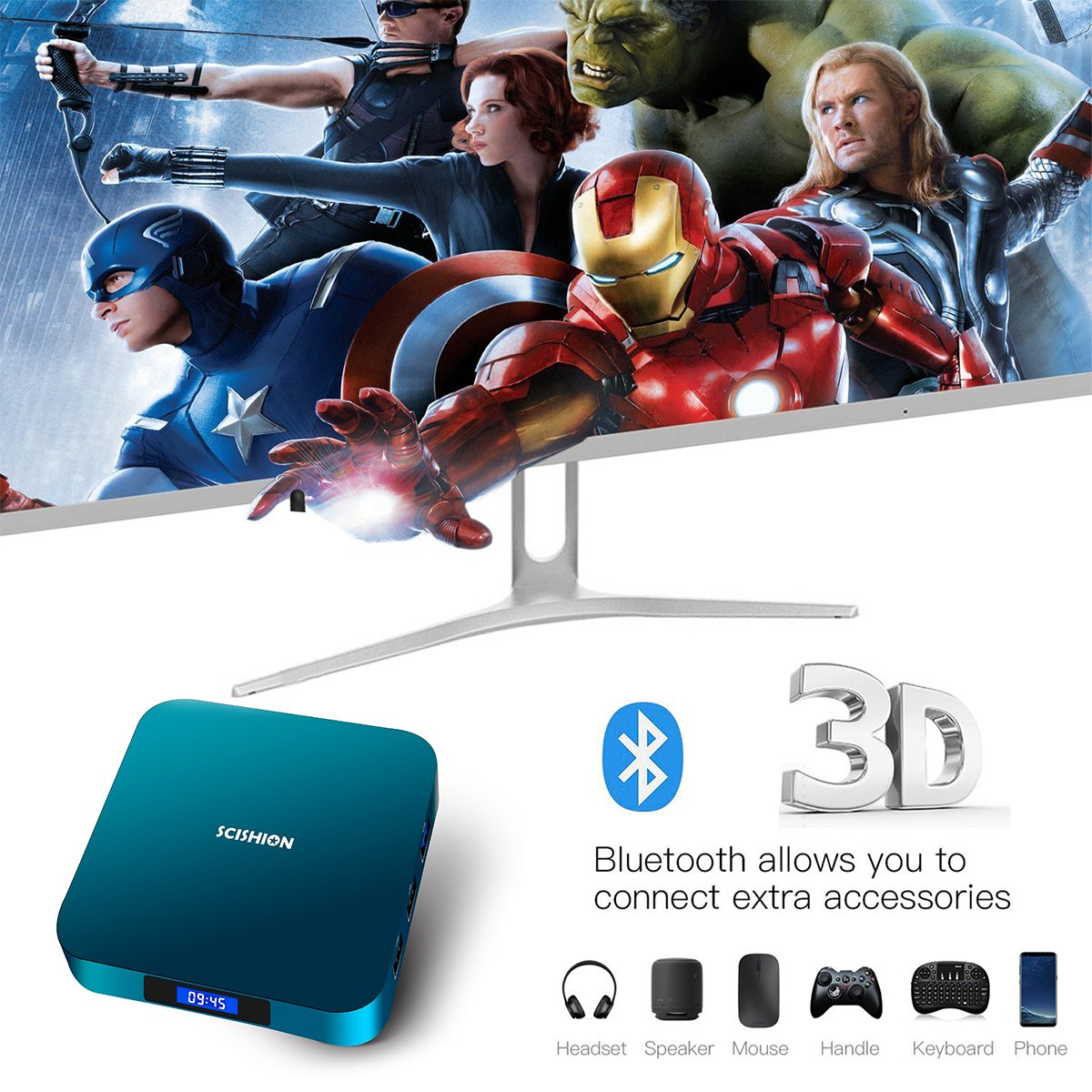 Android 8.1 TV Box with Voice Remote, RK3328 Quad Core 64bit 2GB DDR3 16GB eMMC Memory Smart TV Box with Bluetooth 4.0 WiFi Ethernet HDMI HD 4K Media Player Set Top Box by YAGALA (Image #6)