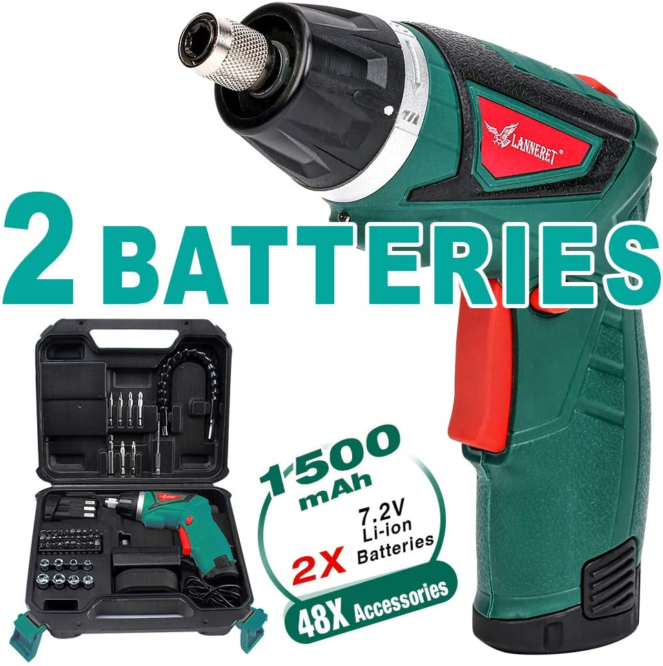 LANNERET 9N.m Cordless Electric Screwdriver-with 48 Accessories BMC Set,2Pcs Rechargeable 7.2V 1500mAh Li-ion Batteries,6+1 Torque Gears, Adjustable 2 Position Handle,and a Built-In LED Light