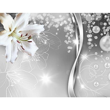 Fototapete Blumen Lilien Schwarz Weiß Vlies Wand Tapete Wohnzimmer  Schlafzimmer Büro Flur Dekoration Wandbilder XXL Moderne Wanddeko Flower  100% MADE ...