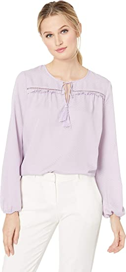 f38a590810 CeCe Women s Long Sleeve Satin Jacquard Ruffled Tie Neck Blouse Soft Orchid  Small