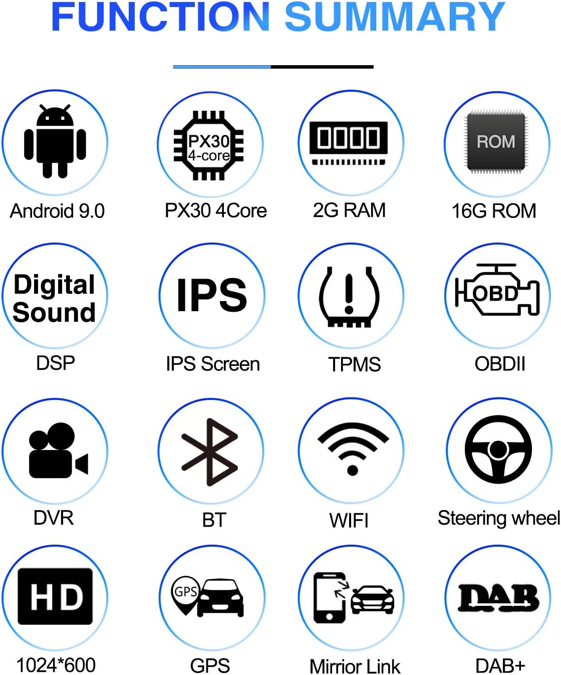 Android 9.0 OS 10.1 Inch Single Din Adjustable Screen Car Stereo /IPS DSP 2G RAM Car Radio for Car Touch Screen PX30 Car Multimedia Navigation Support Bluetooth WiFi