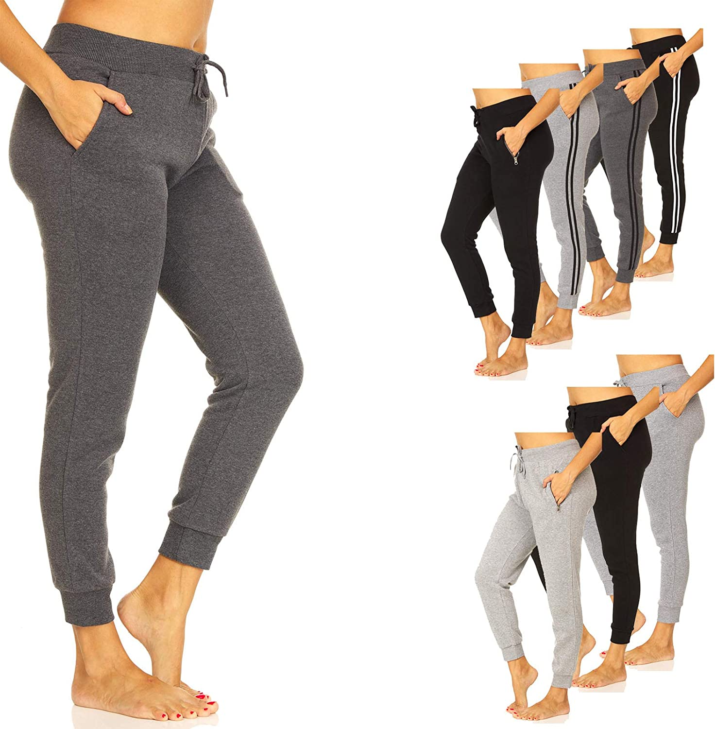 UNIQUE STYLES ASFOOR Fleece Joggers Sweatpants for Women with Pockets - Pajama Pants, Comfy Sweats with Pockets