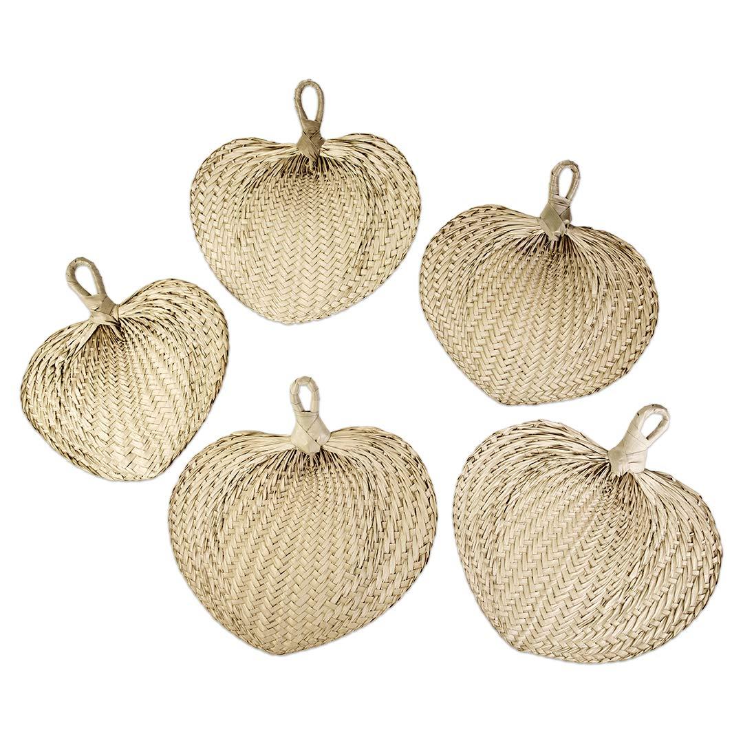 Koyal Wholesale Natural Raffia Hand Fans, 12-Pack Palm Leaf Hand Fans, Buri Fans, Handmade, Fan Programs Wedding