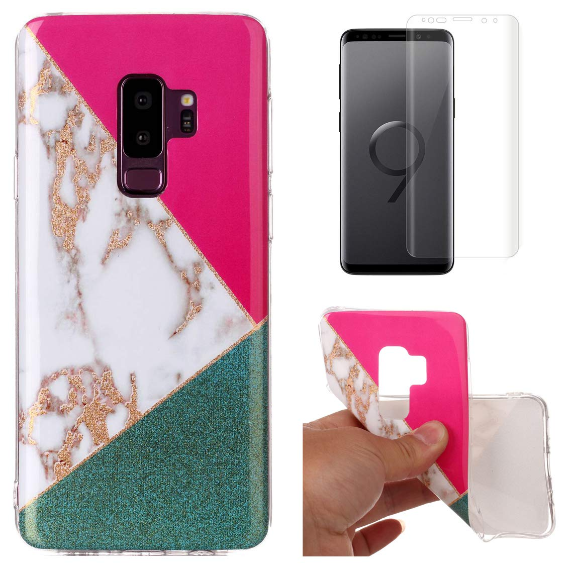 for Samsung Galaxy S9 Marble Case with Screen Protector, OYIME Creative Glossy Purple & White Marble Pattern Design Protective Bumper Soft Silicone Slim Thin Rubber Luxury Shockproof Cover