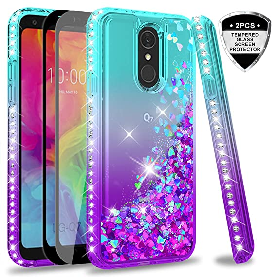 newest 59802 ba3f7 LG Q7 Case,LG Q7 Plus Case with Tempered Glass Screen Protector [2 Pack]  for Girls Women,LeYi Luxury Glitter Diamond Quicksand Clear TPU Protective  ...