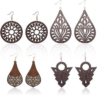 Brown Natural 1 Pair of Lightweight Wood Laser Cut Dangle Earrings Black