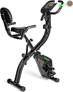HOMGIM Folding Exercise Bike Indoor Cycling Bike, Magnetic Upright Stationary Exercise Bike with Arm Resistance Bands, Ideal Home Office Cardio Workout