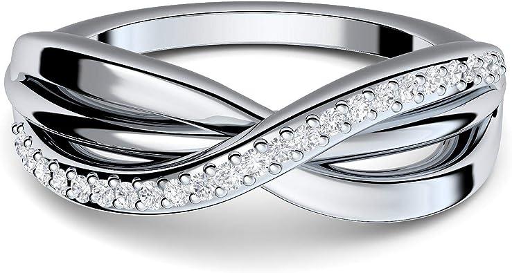 Infinity Ring Silber 925 von Amoonic mit 21 Zirkonia Steinen