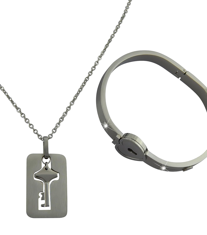 Hanessa Schmuck Set für Partner Halskette Armband Herz Liebe