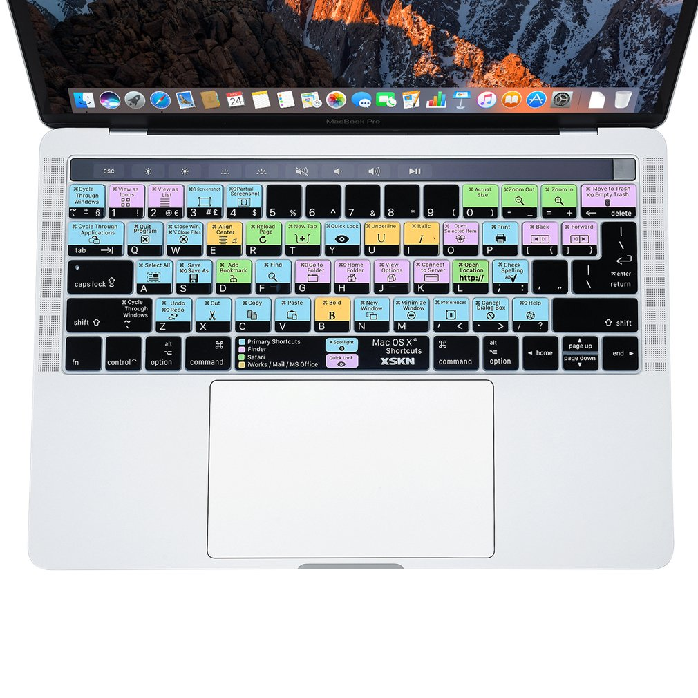 EUA hecha de silicona versi/ón de octubre 2016 A1706/y a1707 /con barra MultiTouch dise/ño universal. Cubierta de atajos para teclado XSKN/2016 para MacBook Pro Retina de 13/y 15/pulgadas