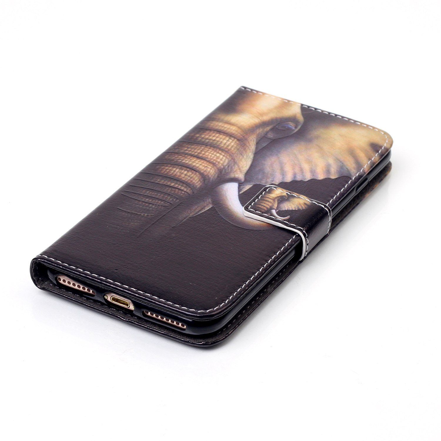 iPhone 8 Plus - Case, iPhone 7 Plus - Case, MerKuyom [Kickstand] Premium PU Leather Wallet Pouch Flap Cover Skin Case For Apple iPhone 7 Plus/iPhone 8 Plus 5.5'', Stylus (Cool Elephant Head) by MerKuyom (Image #4)