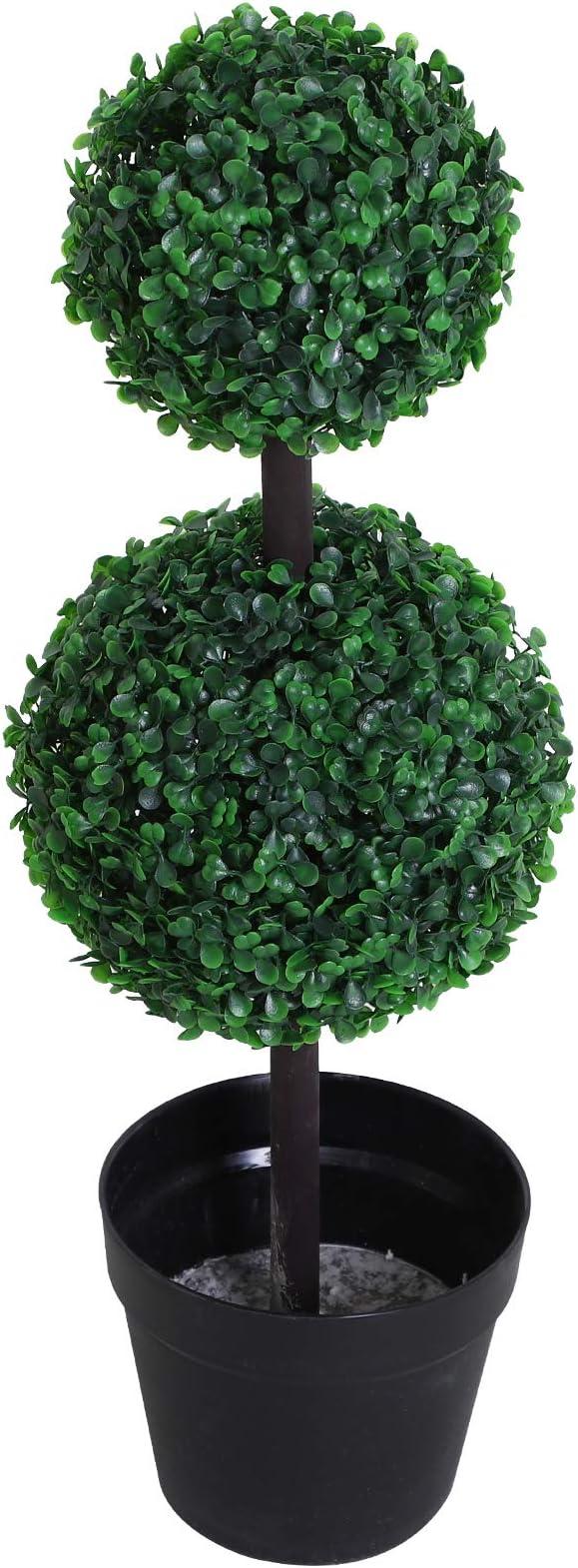 F32cm X 112cm Outsunny Pianta Artificiale Bosso A Spirale Verde Decorativo Per Interni Ed Esterni Con Vaso Incluso Decorazioni Per Interni Casa E Cucina