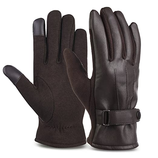 2019 Winter Men Pu Leather Short Thicked Black Touch Screen Gloves Man Outdoor Car Driving Mittens Men Waterproof Gloves For Ski Apparel Accessories