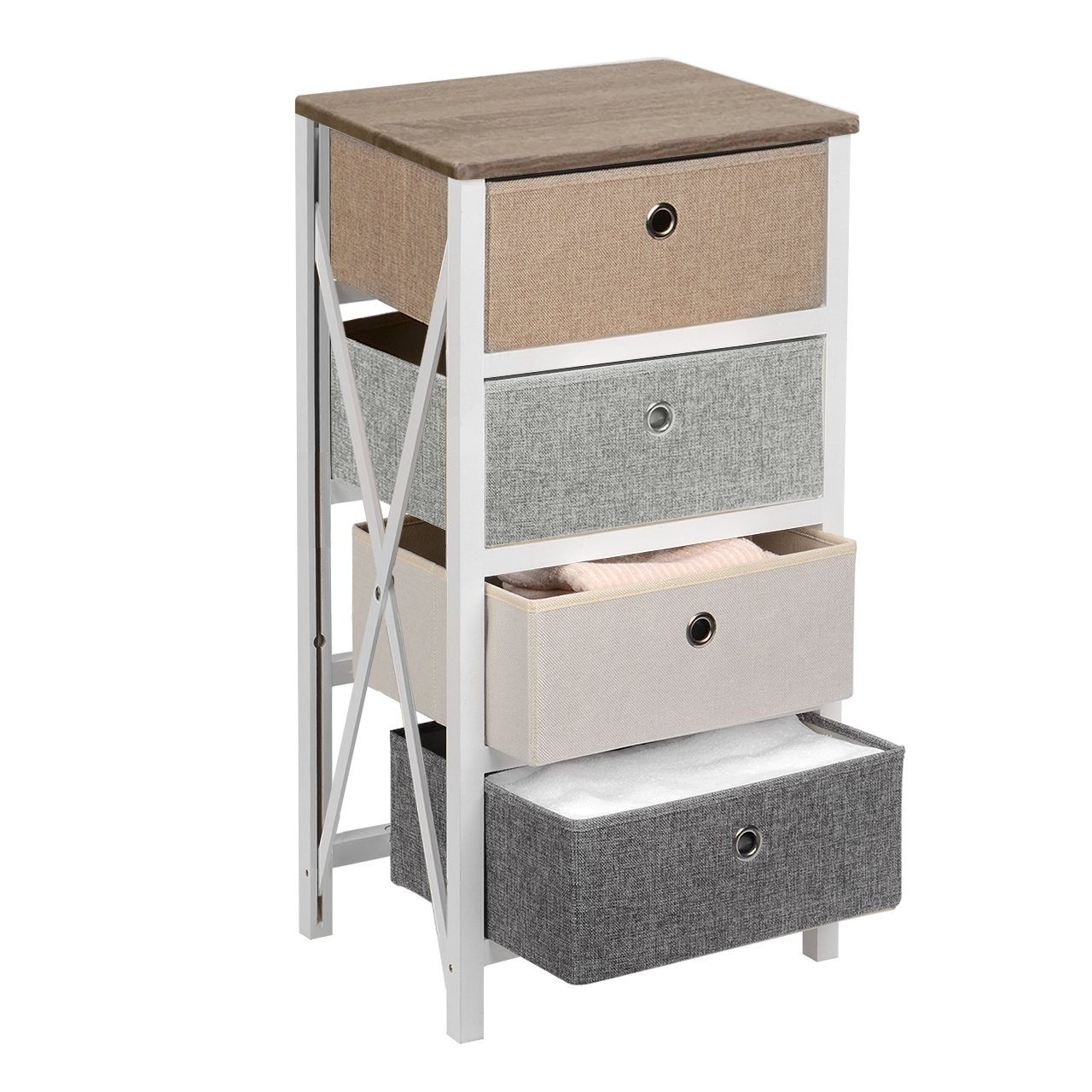 SortWise Modern Style End Table/Night Stand with 3 Storage Bins for Bedroom Organizer