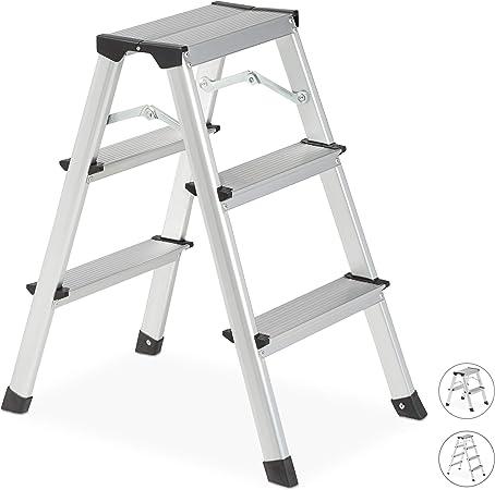 Relaxdays Escalera Plegable Aluminio, Escalerilla Tijera Pequeña, hasta 150 kg, 3 Peldaños, Plateado y Negro: Amazon.es: Hogar