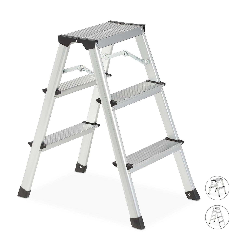 Scaletta Pieghevole in Alluminio 43,5 x 35 x 46 cm Argento Scala da Lavoro Max.150 kg plastica Relaxdays a Libro 2 Gradini Nero