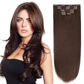 Amazon 14 clip hair extensions human hair clip in 14quot clip hair extensions human hair clip in extensions double weft dark brown 2 pmusecretfo Gallery