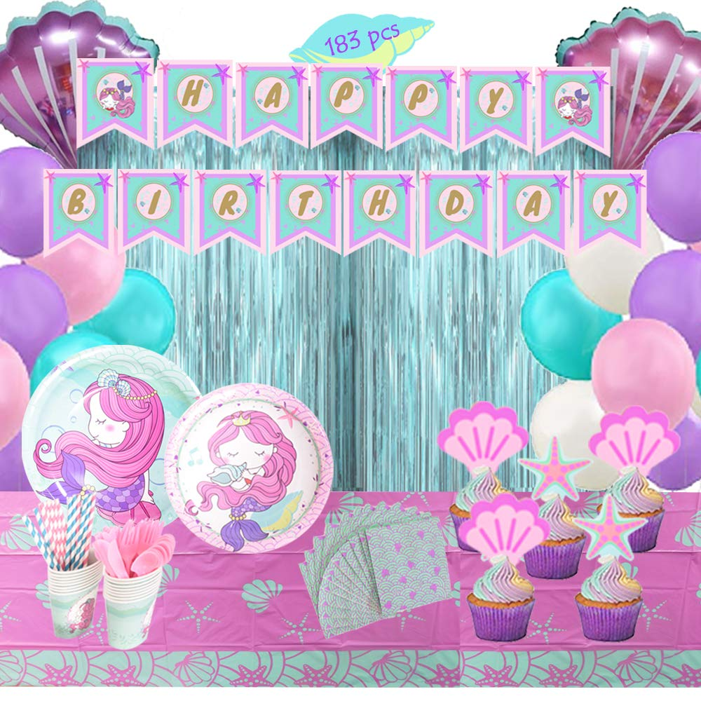 Plates Cups Toppers Cupcakes Cutlery Tablecloth Napkins Straws Under the Sea Blue R BYPAMCO Mermaid Party Supplies Kit for Girls Mermaid Party Birthday Decorations Theme Little Mermaid Set Happy birthday Banner Latex Foil Balloons Tinsel Curtains 16 guest