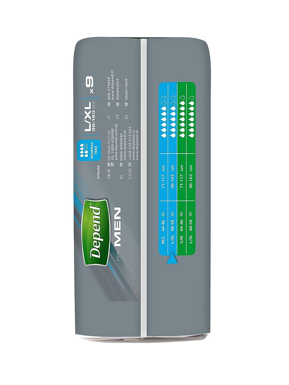 Depend Calzoncillos Absorbentes para Pérdidas de Orina, Absorción Normal, Talla L-XL - 9 unidades: Amazon.es: Amazon Pantry