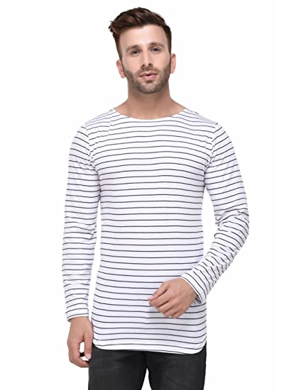 feff08d73f5 Rigo White and Black Striped Curved Hem Full Sleeve Tshirt for Men ...
