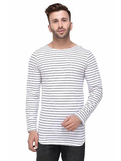 61496959aba Rigo White and Black Striped Curved Hem Full Sleeve Tshirt for Men ...