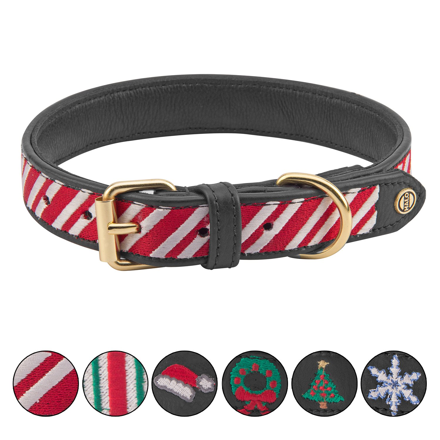 Black X-Small Black X-Small Halo Candycane Padded Adjustable Dog Collars Genuine Real Leather 100%