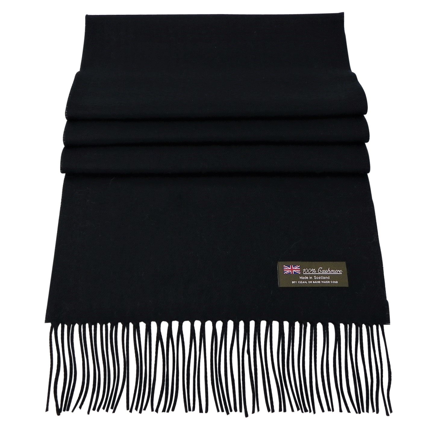 Rosemarie Collections 100% Cashmere Winter Scarf Made In Scotland (Jet Black)