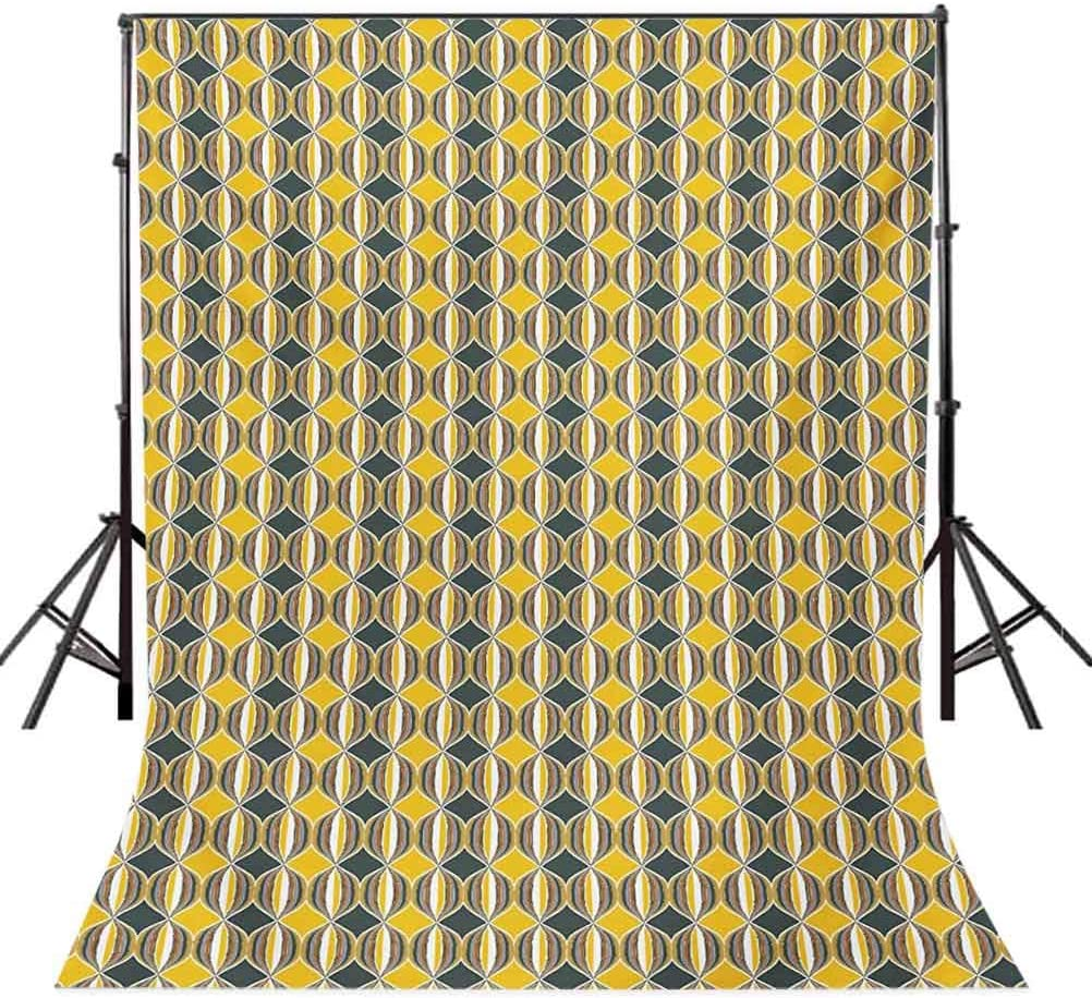 Geometric 6.5x10 FT Photo Backdrops,Ornate Curved Stripes in Circles Contemporary Abstract and Retro Style Background for Baby Shower Bridal Wedding Studio Photography Pictures Grey Yellow White