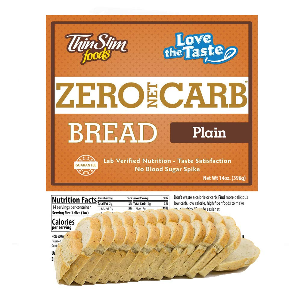 ThinSlim Foods 45 Calorie, 0g Net Carb, Love-The-Taste Low Carb Bread Plain by ThinSlim Foods