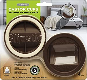 Slipstick CB845 3-1/4 Inch Bed Roller / Furniture Wheel Gripper Caster Cups (Set of 4) Chocolate Brown Color,Large