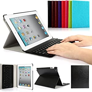CoastaCloud iPad 2/3/4 Really Thin Stand Cover with Magnetically Detachable Wireless Bluetooth Keyboard Case for Apple iPad 2 3 4 (Black)