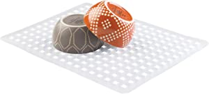 "iDesign Euro Plastic Sink Grid, Non-Skid Dish Protector Mat for Kitchen, Bathroom, Basement, Garage, 16"" x 12.5"", Clear"