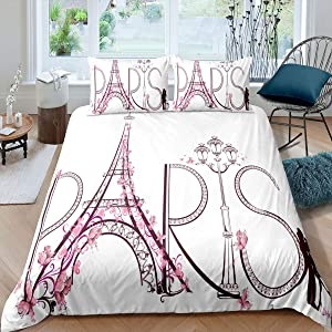 Feelyou Paris City Decor Duvet Cover Set Twin for Girls Tower Eiffel with Paris Lettering Illustration Couple Trip Flowers Artful Comforter Cover Decorative Bedding Set with 1 Pillow Shams Pink