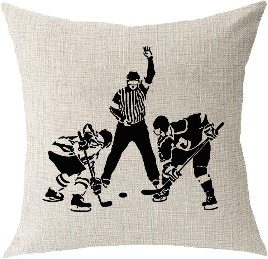 Amazon Com Sports Sports Playing Ice Hockey Cotton Linen Square Throw Waist Pillow Case Decorative Cushion Cover Pillowcase Sofa 18x18 Inches Home Kitchen