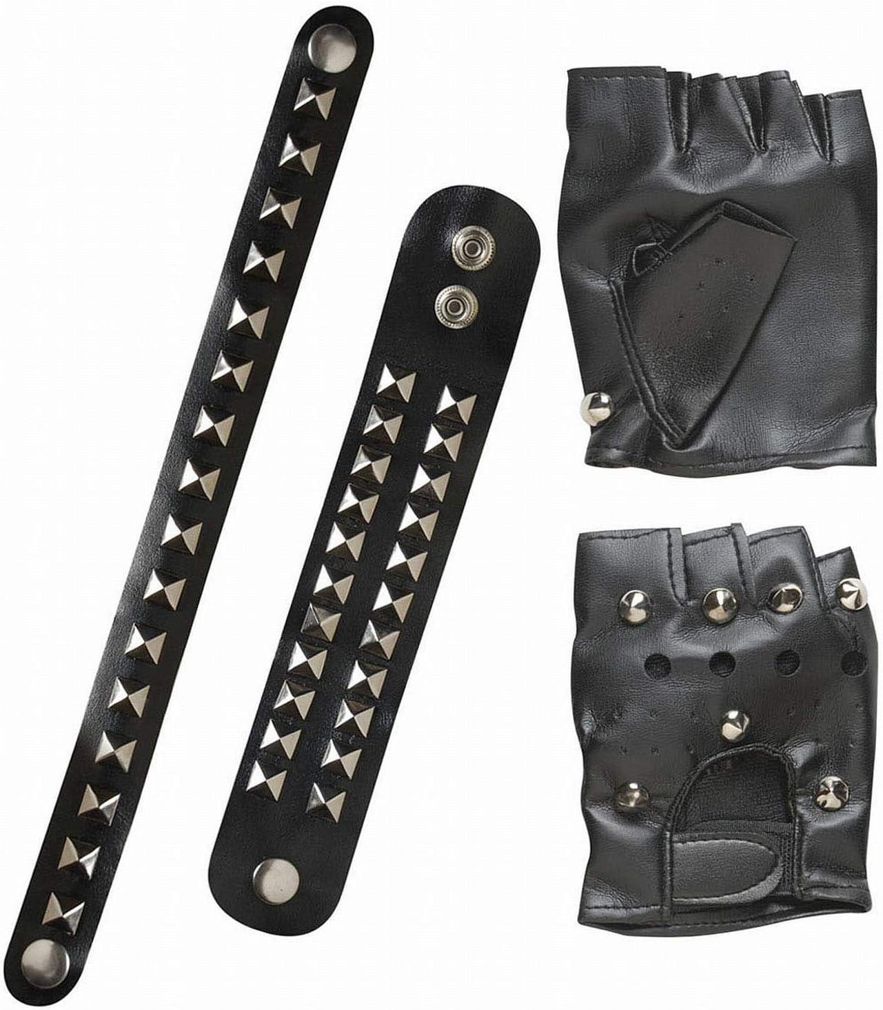 Widmann -Conjunto de motorista - guantes, 2 pulseras, collar con tachuelas de piel sintética