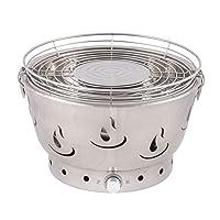 Airbroil silber Tischgrill Activa weiss Edelstahl Stahl Kunststoff kleiner Camping Balkon Picknick ✔ Deckel ✔ rund ✔ tragbar rauchfrei ✔ Grillen mit Holzkohle ✔ für den Tisch