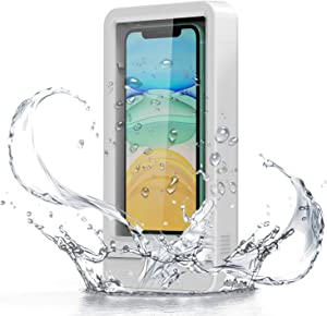 Wall Mount Phone Holder, Fansteck Wall Phone Holder Mount with Reusable Nano Adhesive Strip, for Bathroom,Shower,Kitchen,Make up and More, Compatible with Mobile Phones Under 6.9 inches (White)