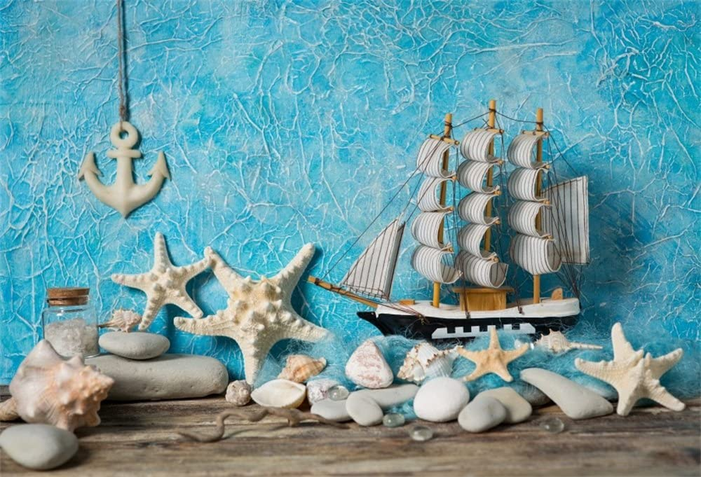 Nautical 8x10 FT Photo Backdrops,Underwater with Sharks Old Ship Compass Windrose Deep Water Bubbles Illustration Background for Party Home Decor Outdoorsy Theme Vinyl Shoot Props Blue White